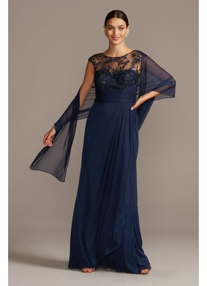 Illusion Embellished Bodice Gown with Cap Sleeves - Embellished leafy vines and flowers wrap around the