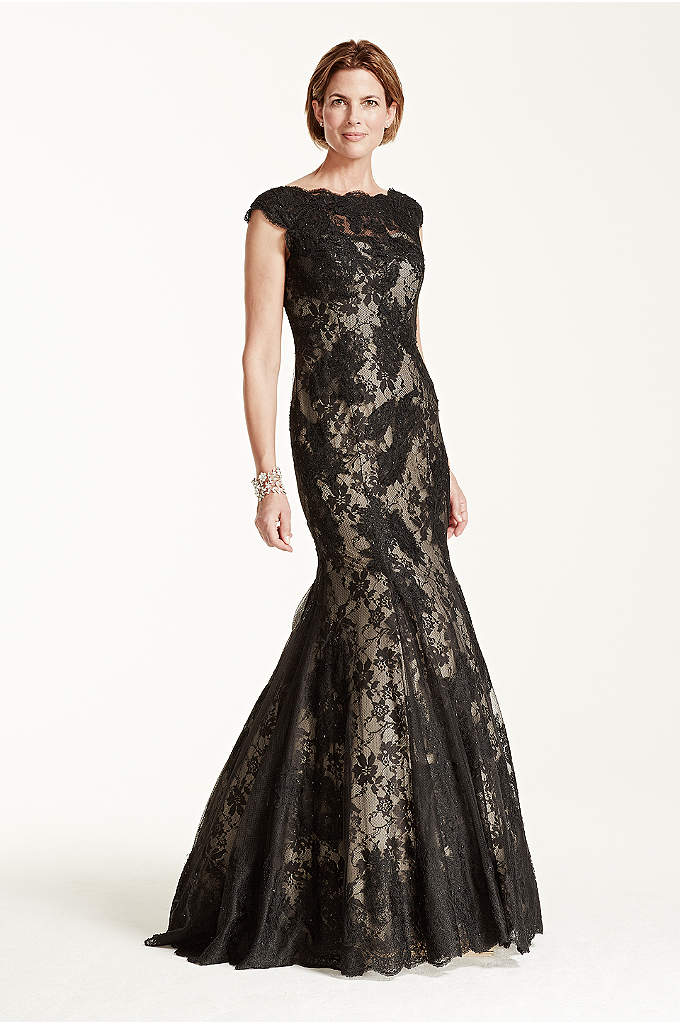 Cap Sleeve All Over Lace Fit and Flare Dress