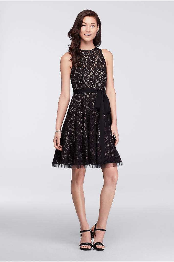 Short Lace Dress with Illusion Neckline and Sash