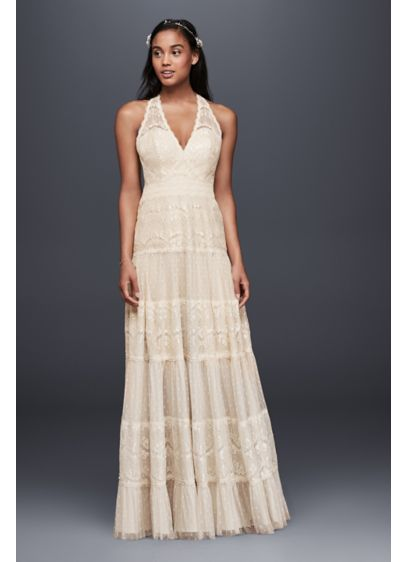 4c6d9a4e83b Mixed Lace A-line Halter Dress | David's Bridal