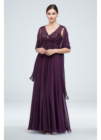 Embellished Bodice V-Neck Gown with Cap Sleeves - This elegant gown blends a sequin-embellished brocade bodice