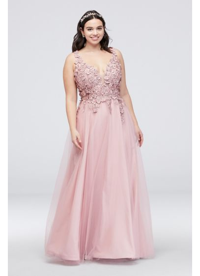 Dramatic Floral Applique Plus Size Tulle Gown - This V-neck ball gown makes a sophisticated statement