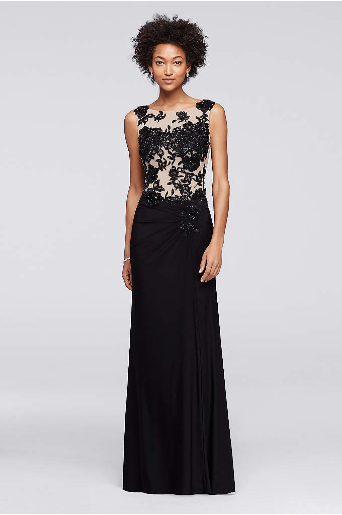 Long Sleeveless Dress with Illusion Beaded Bodice