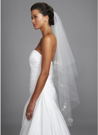 Walking Veil with Floral Motif and Cut Edge - Wedding Accessories