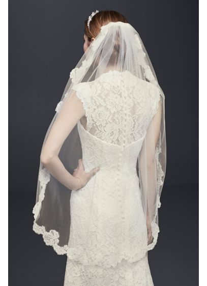 One Tier Veil with Pearl Embellished Alencon Lace - Wedding Accessories