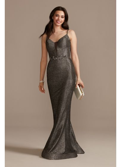 Embellished Glitter Spaghetti Strap Plunge Dress - Bead and jewel details shows off the curve-hugging,