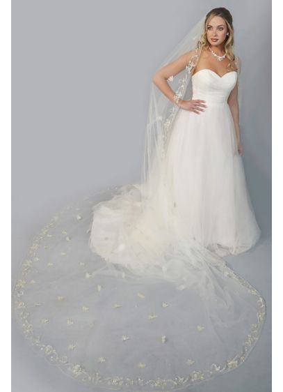 Floral-Beaded Extended Cathedral Veil - Beautiful rhinestone-embellished embroidered flowers bloom on this extra-long