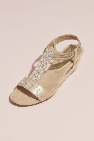 New York Transit Beige Wedges (Crystal T-Strap Wedge Sandals with Heel Cutout)