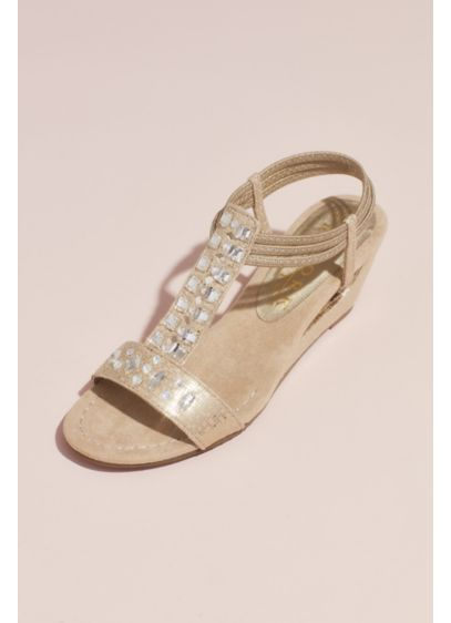 New York Transit Beige (Crystal T-Strap Wedge Sandals with Heel Cutout)