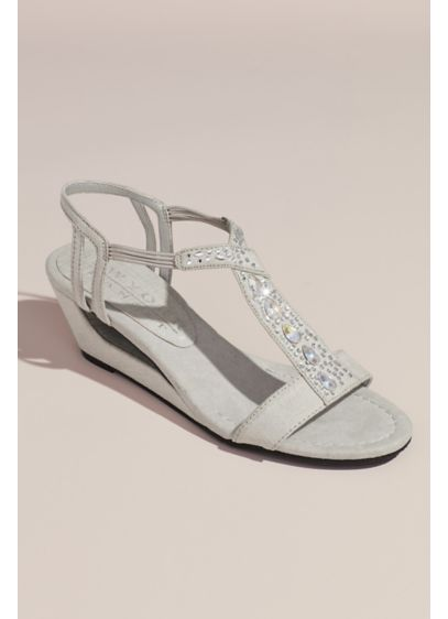New York Transit Grey (Embellished Open Wedge Sandals)