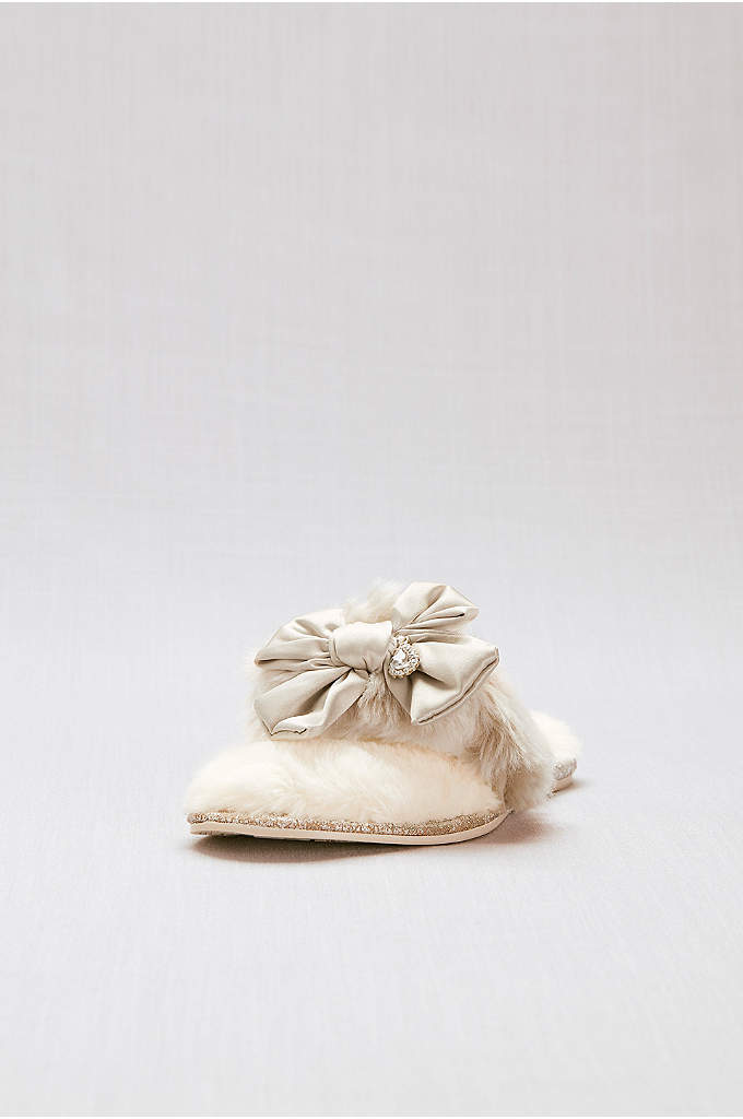 Faux-Fur Flip-Flop Slippers with Bow - Treat your feet in these faux-fur flip-flop slippers,
