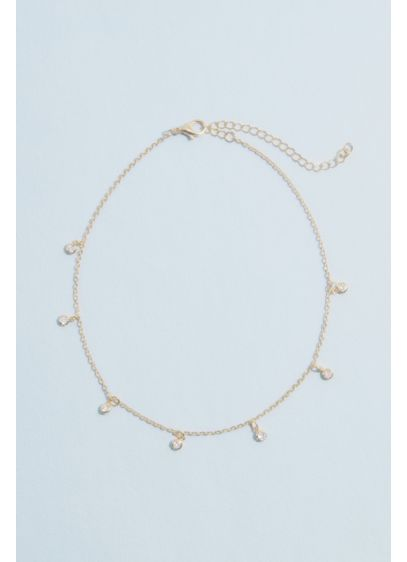 Delicate Choker Necklace with Dangling Motif - This charming choker has dangling accents spaced across