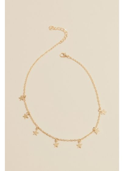 Choker Necklace with Dangling Motif - This charming choker has dangling accents spaced across