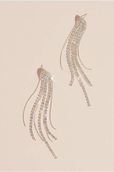 Iridescent Rhinestone Tassel Earrings