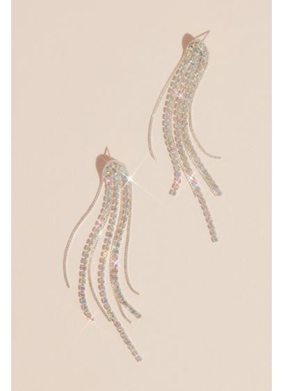 Iridescent Rhinestone Tassel Earrings - Individual strands of brightly-shining iridescent rhinestones and metal