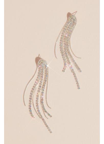 Iridescent Rhinestone Tassel Earrings - Wedding Accessories