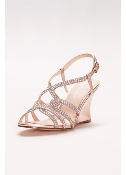 Touch of Nina Pink (Embellished Strappy Wedge Sandals)