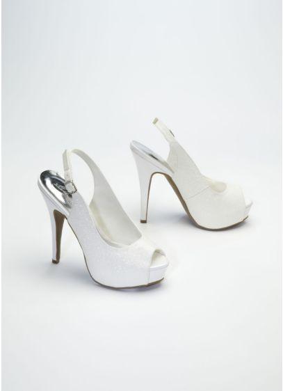 Grey (Glitter Peep Toe High Heel Slingback)