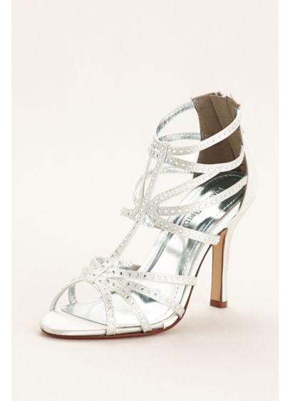 David's Bridal White (High Heel Dyeable Caged Sandal)