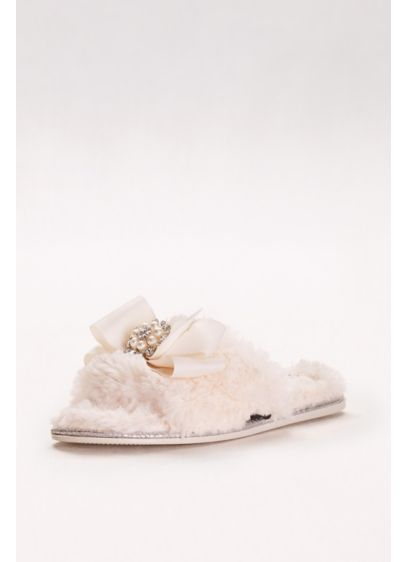 Pretty You London Ivory (Faux-Fur Slippers with Jeweled Ribbon Bow)