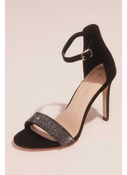 Crystal Vamp Faux-Suede Ankle Buckle Heels - This fabulous pair of special-occasion stilettos is crafted