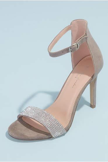 Crystal Vamp Faux-Suede Ankle Buckle Heels