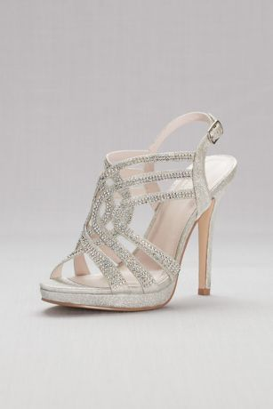 David's Bridal Grey Heeled Sandals (Strappy Crystal Platform Sandals)