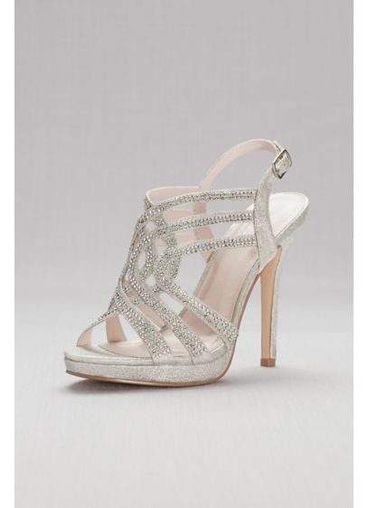 cc81fe5d2815 Strappy Crystal Platform Sandals. VIVA2. Grey David s Bridal Bridesmaid  Dress