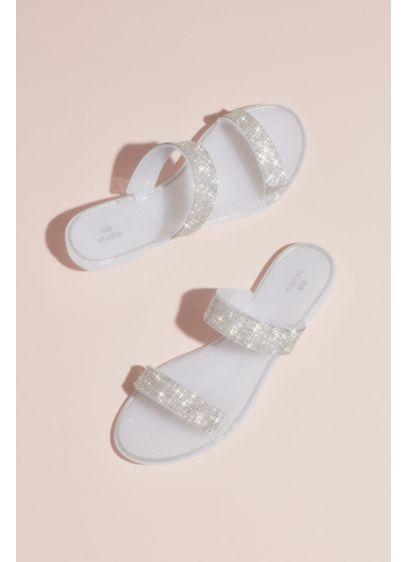 David's Bridal White (Double Rhinestone Strap Sandals)