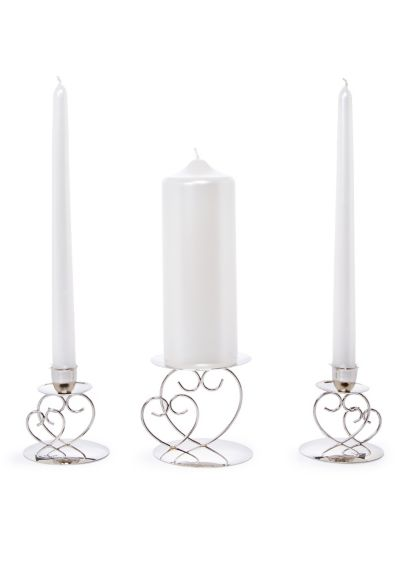 Heart Unity Candle Holder - This silver unity candle holder set will add