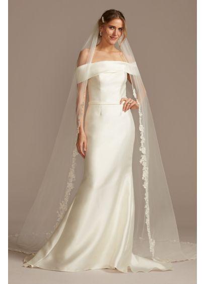 David's Bridal Ivory (Crystal Embellished Rose and Floral Cathedral Veil)