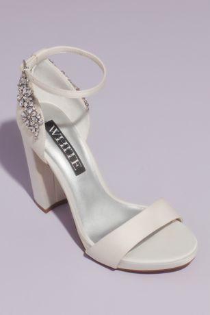 White by Vera Wang Black;Ivory Heeled Sandals (Crystal Embellished Platform Sandals)