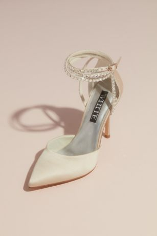 """White by Vera Wang Ivory Pumps (Satin D""""Orsay Ankle-Wrap Stiletto Heels)"""