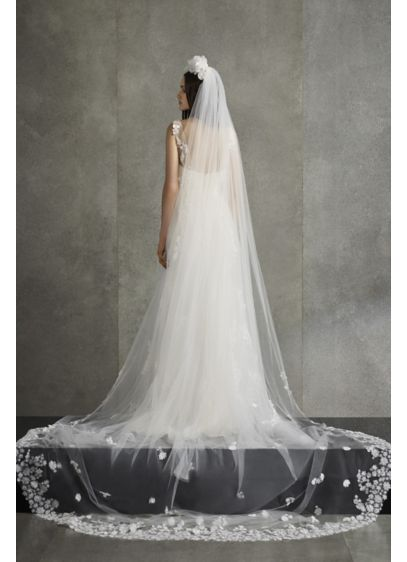 White by Vera Wang Ivory (White by Vera Wang Floral Punch Applique Veil)