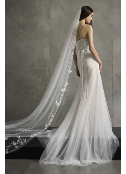 White by Vera Wang Embroidered Floral Veil - Wedding Accessories