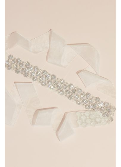 Crystal Halos Illusion Sash with Organza Ties - Round crystals with halo details glitter on a