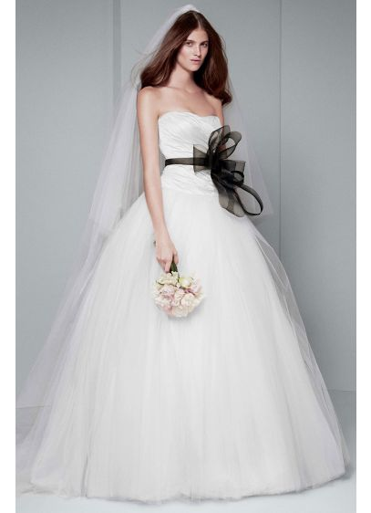 White by Vera Wang Draped TaffetaWedding Dress - Strapless taffeta gown with asymmetrically draped bodice, scooped