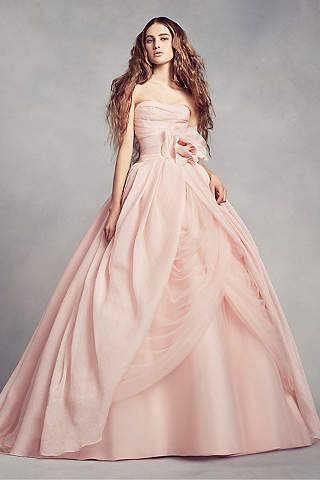 Light pink blush wedding dresses davids bridal long ballgown modern chic wedding dress white by vera wang junglespirit Image collections