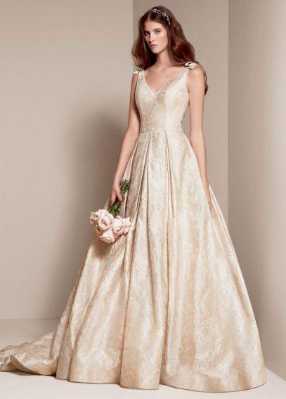White by Vera Wang Floral Matelasse Wedding Dress | David's Bridal