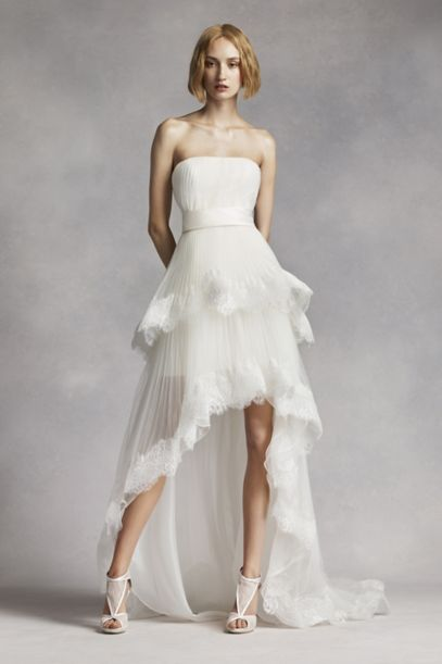 White by Vera Wang High Low Tiered Wedding Dress
