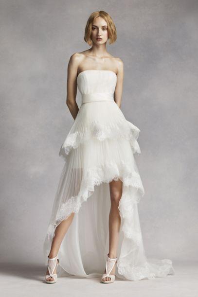 White By Vera Wang High Low Tiered Wedding Dress Davids Bridal