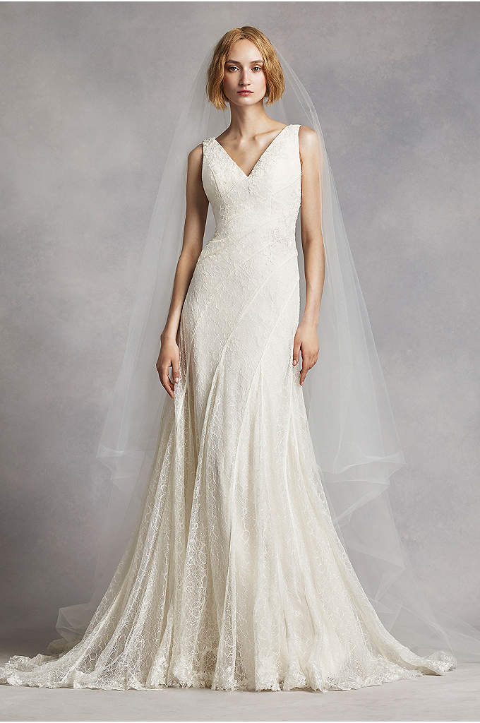 White by Vera Wang V-Neck and Lace Wedding - Soft and elegant, this etheral wedding gown crafted