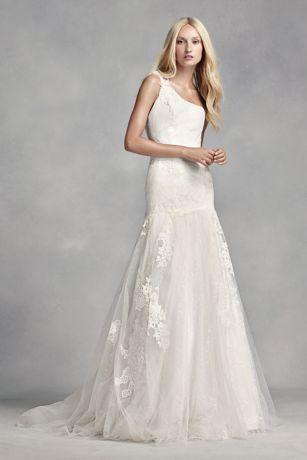 White by Vera Wang One Shoulder Lace Wedding Dress | David's Bridal | Tuggl