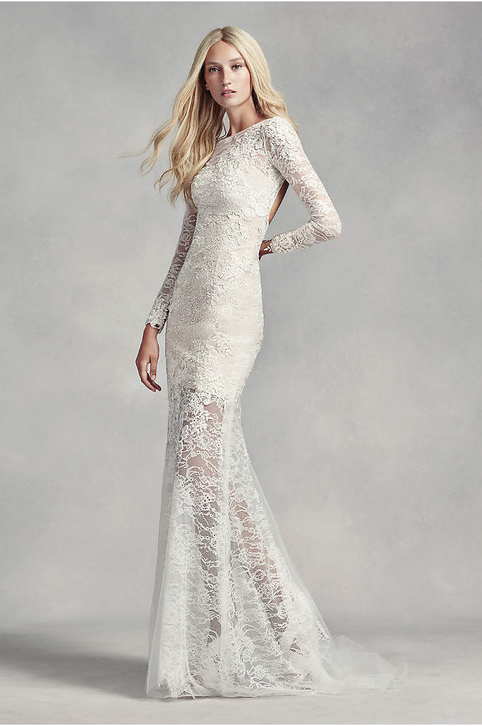 White by Vera Wang Lace and Beads Wedding - This long sleeve sheath with a sheer hem