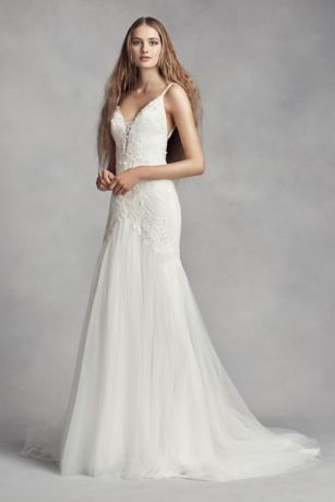 White by vera wang plunging sheath wedding dress davids bridal junglespirit Gallery