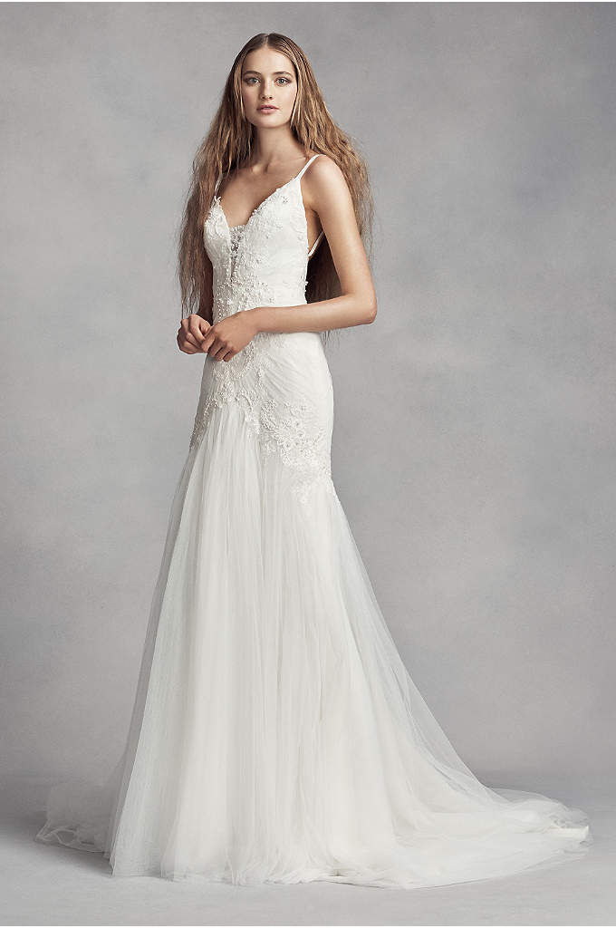 White by Vera Wang Plunging Sheath Wedding Dress - Covered in hand-placed pearls for subtle texture, the