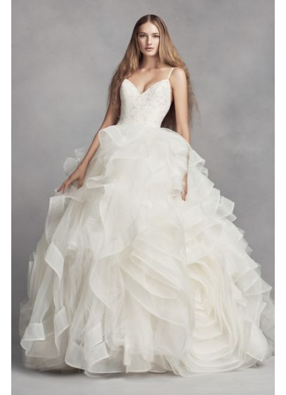 Long Ballgown Boho Wedding Dress - White by Vera Wang