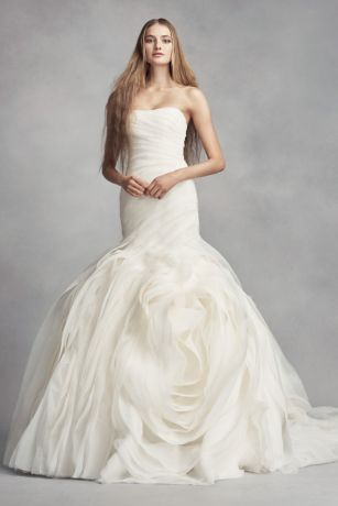 White by vera wang bias tier trumpet wedding dress davids bridal junglespirit Choice Image