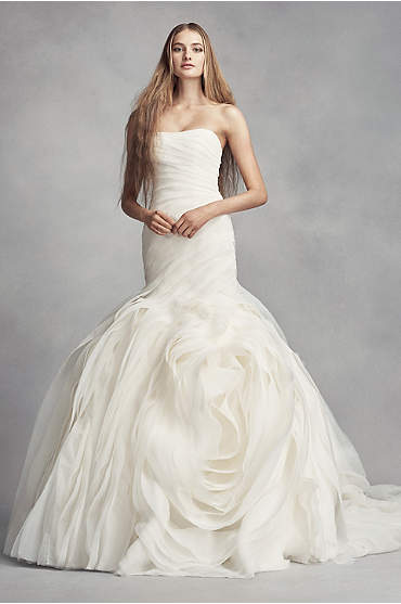 White by Vera Wang Bias-Tier Trumpet Wedding Dress