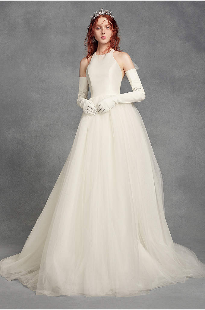 White by Vera Wang Bow-Back Halter Wedding Dress - This White by Vera Wang ball gown combines